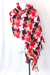 B153 Super Soft Basket Weave Knit Fuchsia Brown Ivory Scarf