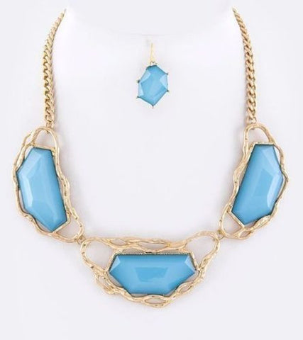 D32 Hammered Metal Aqua Blue Acrylic Stone Necklace Earring Set