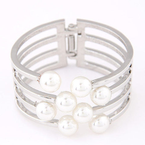 D36 White Faux Pearl Stacked Silver Metal Wire Hinged Cuff Bracelet