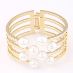 D36 White Faux Pearl Stacked Gold Metal Wire Hinged Cuff Bracelet