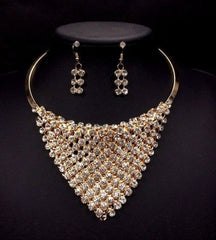 D36 Austrian Crystal Gold Draping Triangle Collar Statement Necklace Set