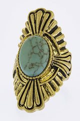 D2 Oversize Art Deco Gold Textured Metal Green Stone Adjustable Ring Boutique