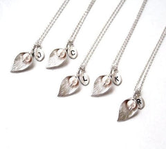 ED33 Handmade Silver Calla Lily Faux Pearl Initial Necklace L M R S T