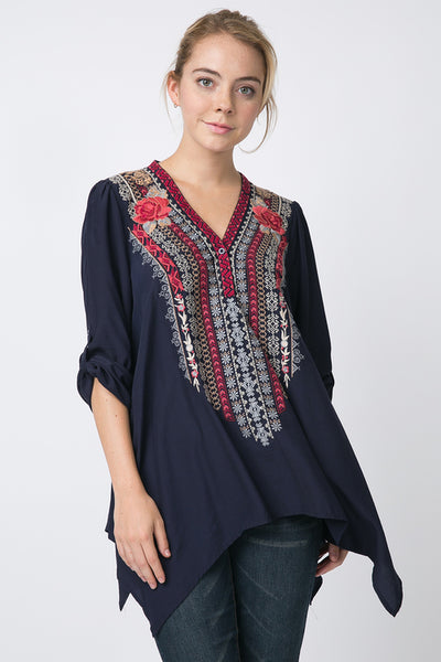 Harvestbell Rose Embroidered Tunic