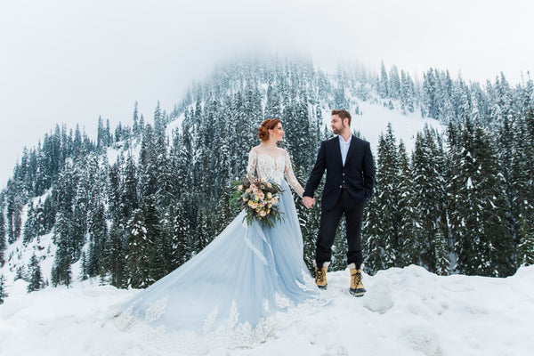 winter bridal styled shoot-Dream Dresses by PMN-Non traditional wedding dress