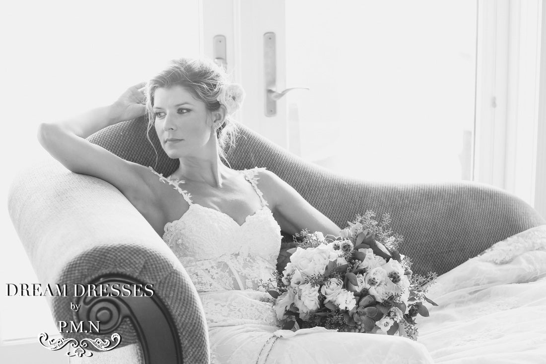 Nicole's couture custom wedding dress from Dream Dresses by PMN
