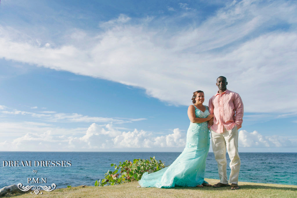 Couture Custom wedding dress-Judy's wedding in Hawaii