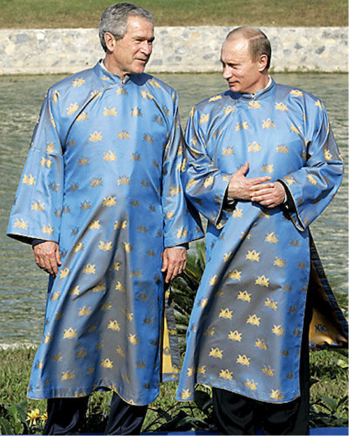 george bush and vladimir putin in ao dai