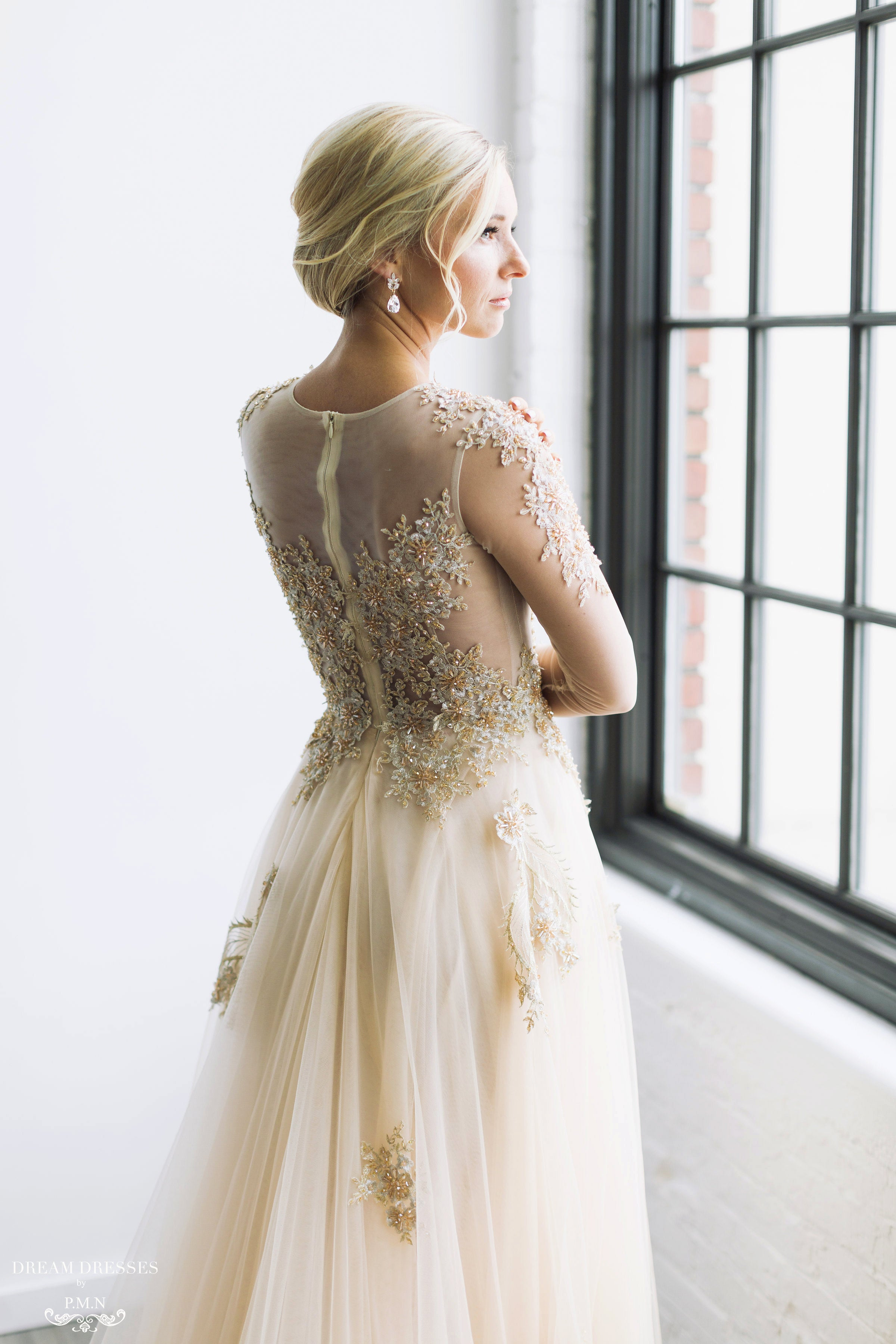 Champagne/Gold Long Sleeve Princess A-Line Gown (# ARIEL)