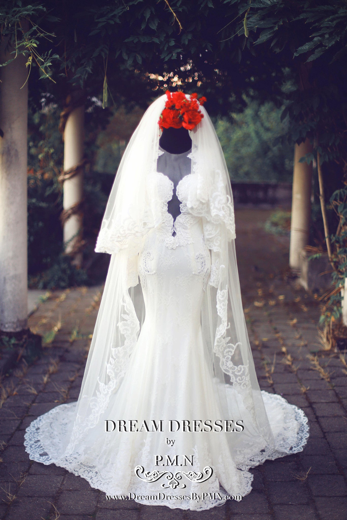 Two-Layer Lace Cathedral Wedding Veil  (#PB201) - Dream Dresses by P.M.N  - 3