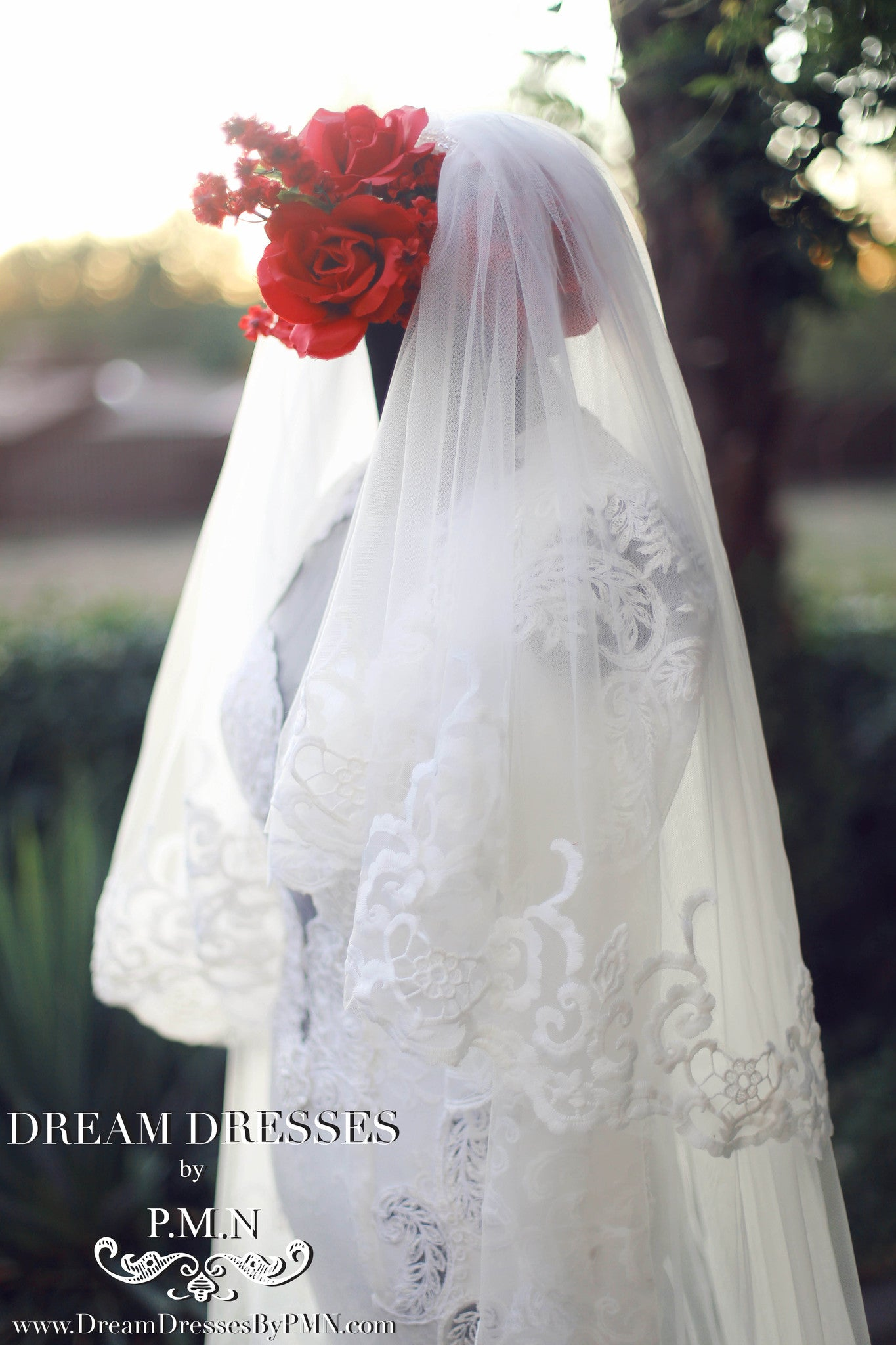 Two-Layer Lace Cathedral Wedding Veil  (#PB201) - Dream Dresses by P.M.N  - 6