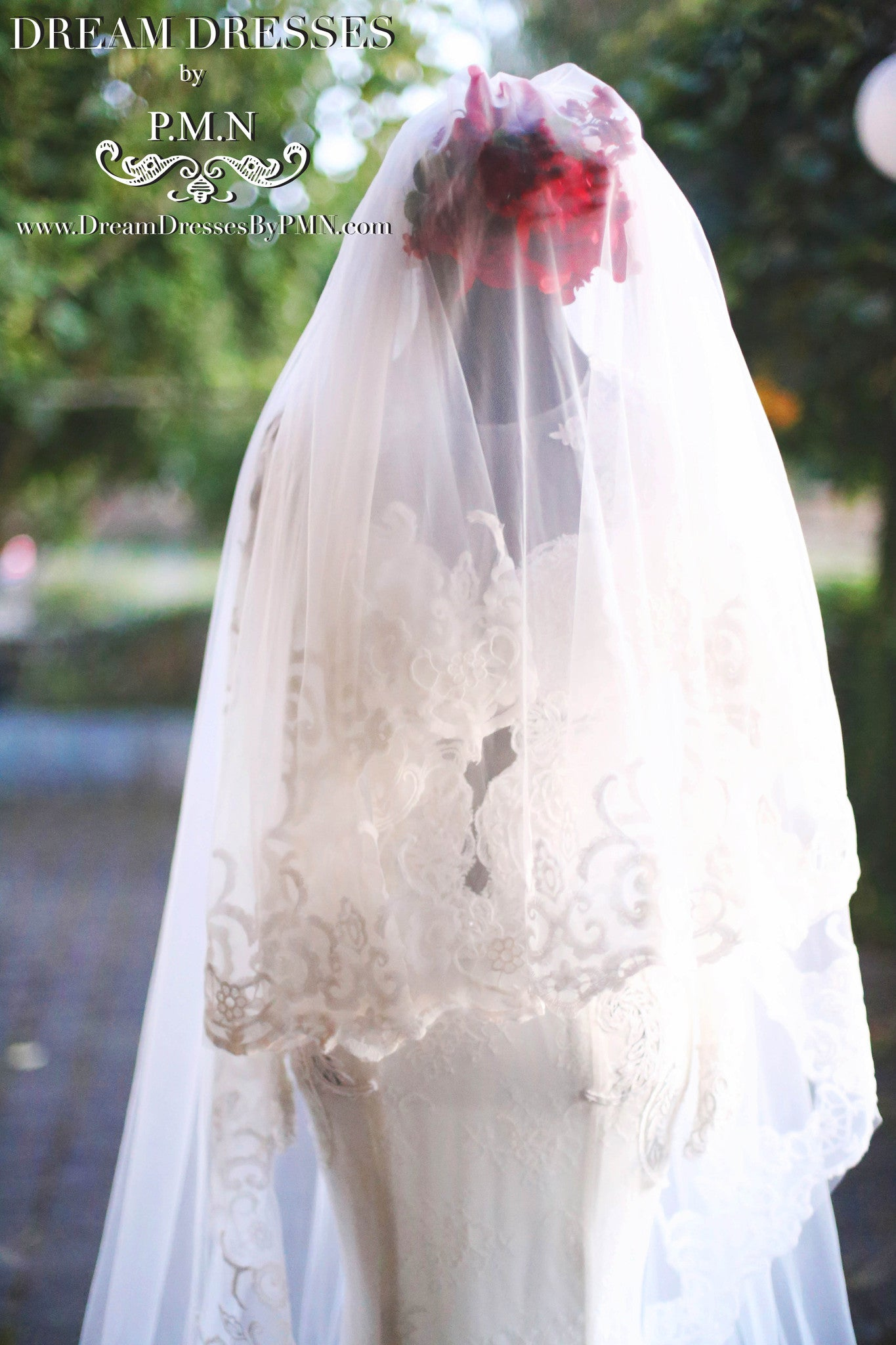 Two-Layer Lace Cathedral Wedding Veil  (#PB201) - Dream Dresses by P.M.N  - 7