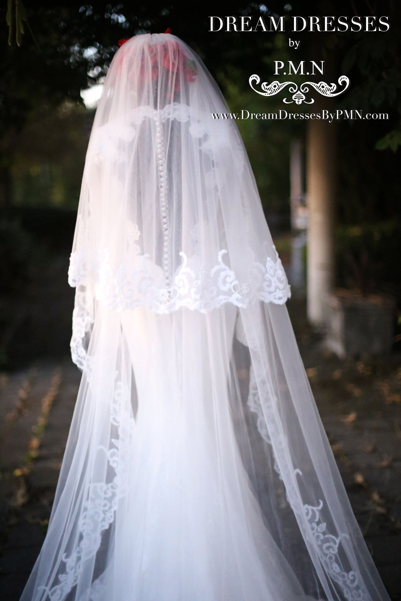 Two-Layer Lace Cathedral Wedding Veil  (#PB201) - Dream Dresses by P.M.N  - 8