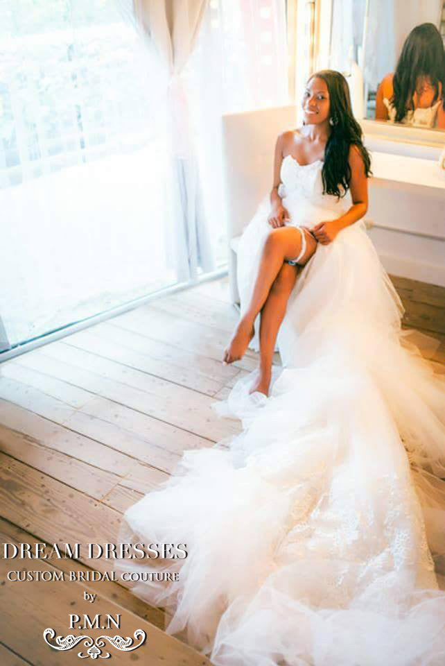Lace Trumpet Wedding Dress With Teired Train (# Chisa)