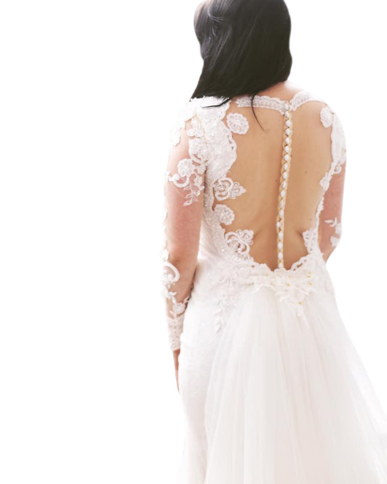 Illusion Neckline Wedding Dress (#Tessia)