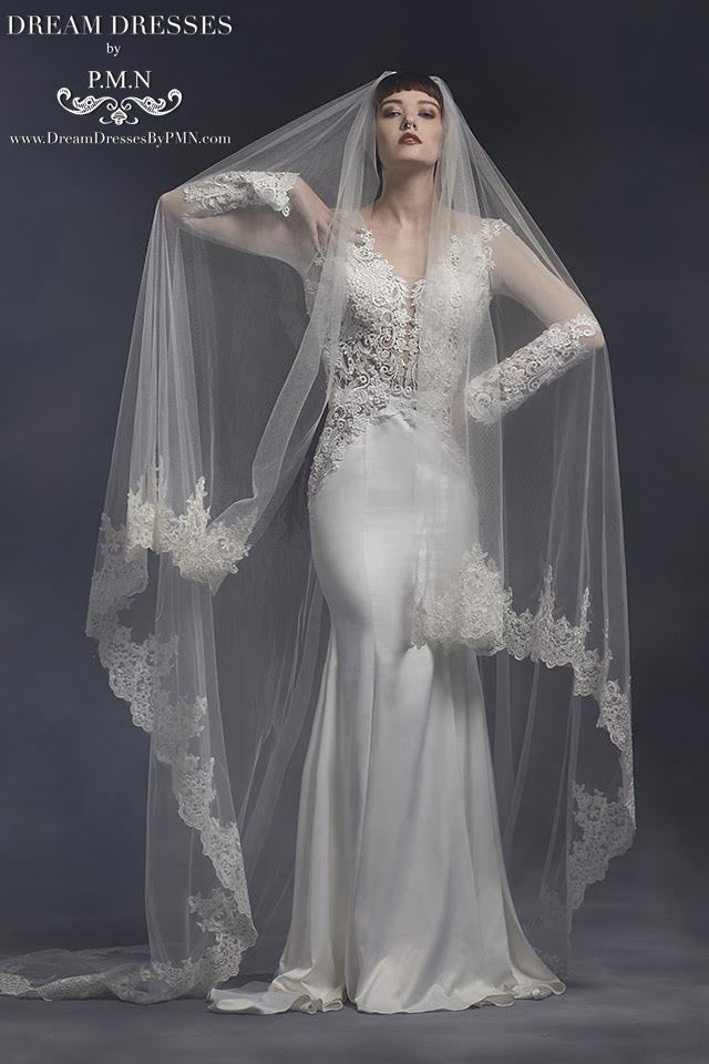 Lace Cathedral Wedding Veil (#SS16310) - Dream Dresses by P.M.N