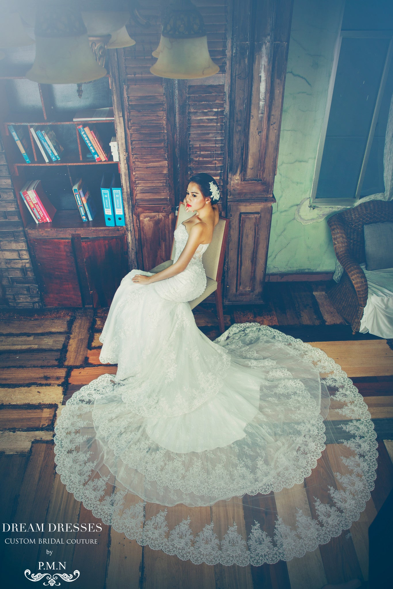 SAMPLE SALE/ Sweetheart Strapless Wedding Dress with Three Layer Long Train (# PB094) - Dream Dresses by P.M.N  - 6