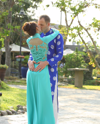 Custom Made Vietnamese Traditional Bridal Dress With Couture Embroidery (#PNAD001) - Dream Dresses by P.M.N  - 1