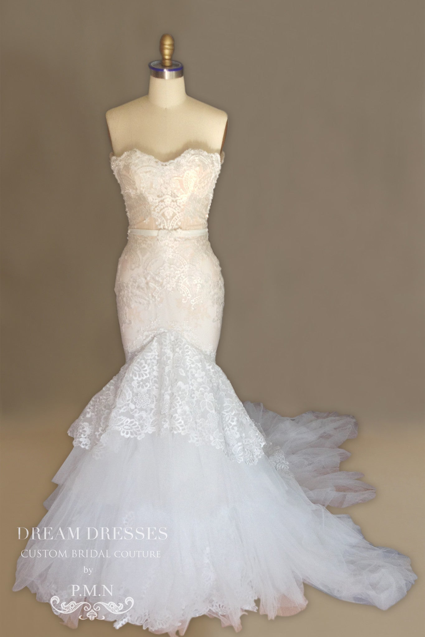 Lace Trumpet Wedding Dress With Four Layer Extended Long Train (Style # Chisa PB081) - Dream Dresses by P.M.N  - 12