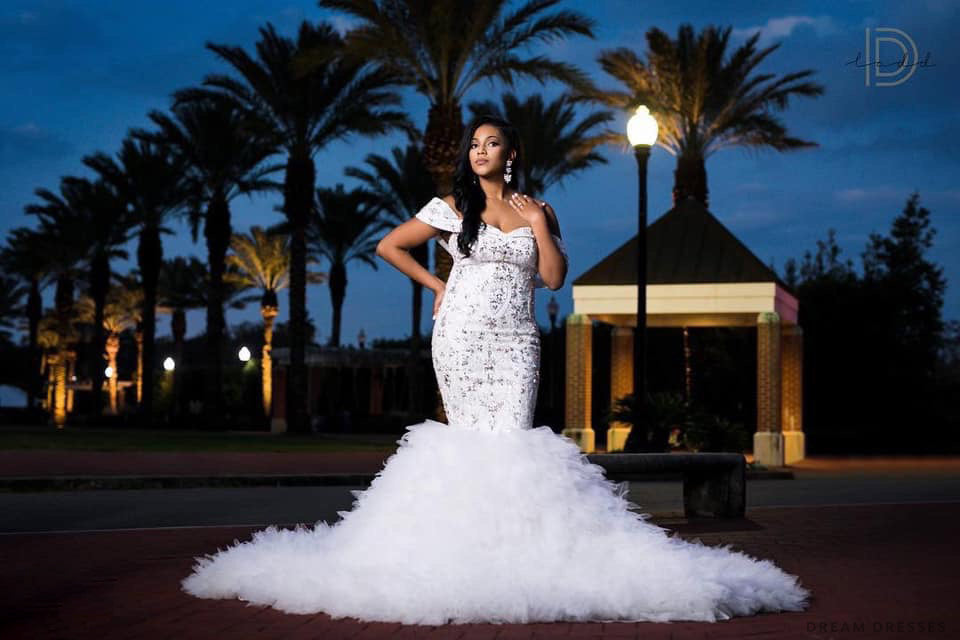 Rhinestones Embellished Mermaid Wedding Dress (#Breshawn)