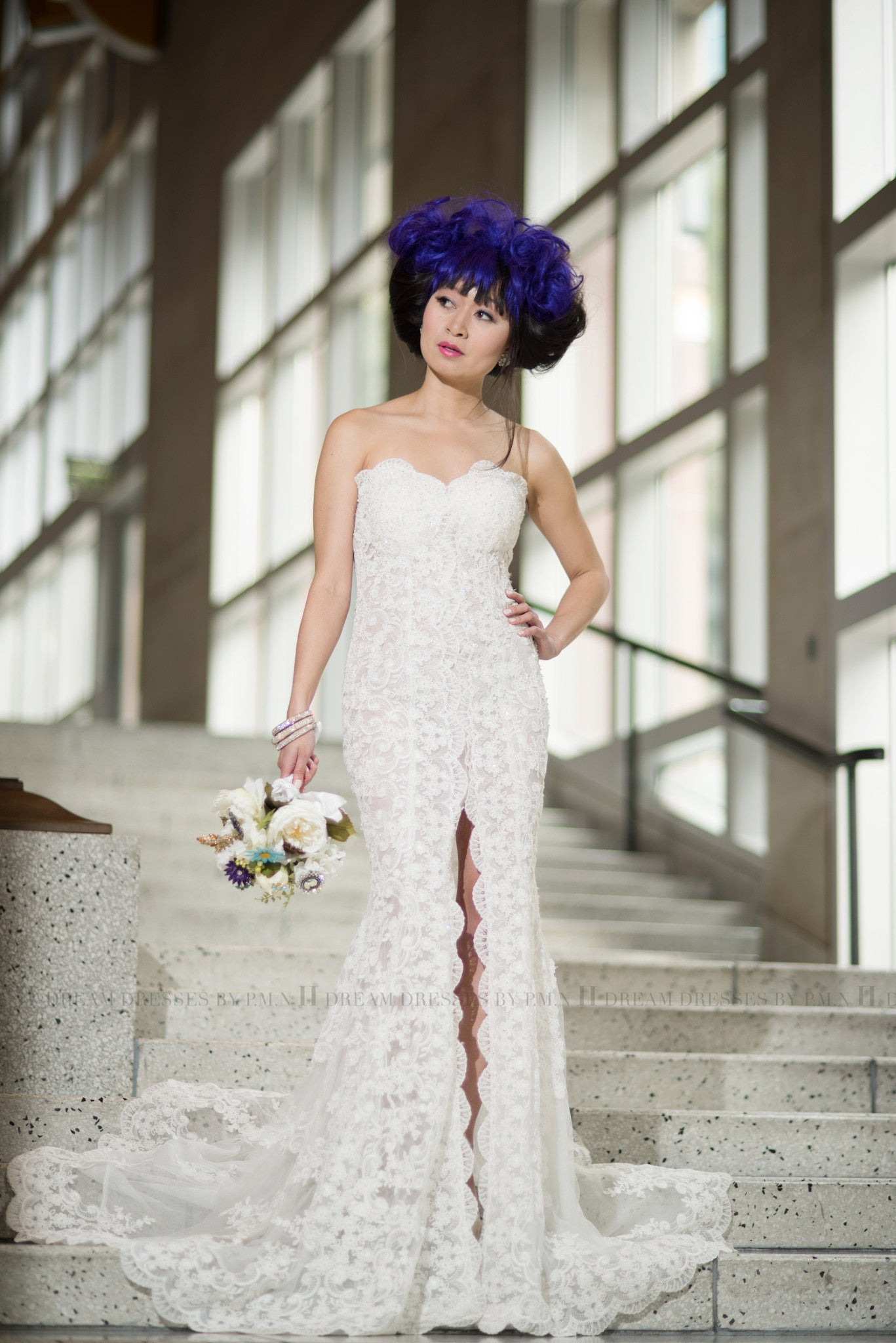 Custom Made Split Fit-n-Flare Wedding Dress (Style # JULIET PB137)-Made to Order - Dream Dresses by P.M.N  - 1