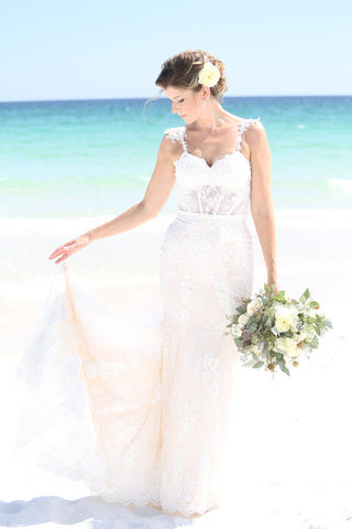 Couture Sheer Bodice Mermaid Wedding Dress (Style Nicole #PB239) - Dream Dresses by P.M.N  - 1