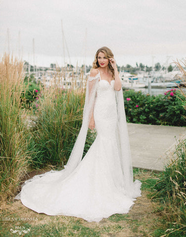 Lace Mermaid Wedding Dress with Sleeve Cape (#Aceline)