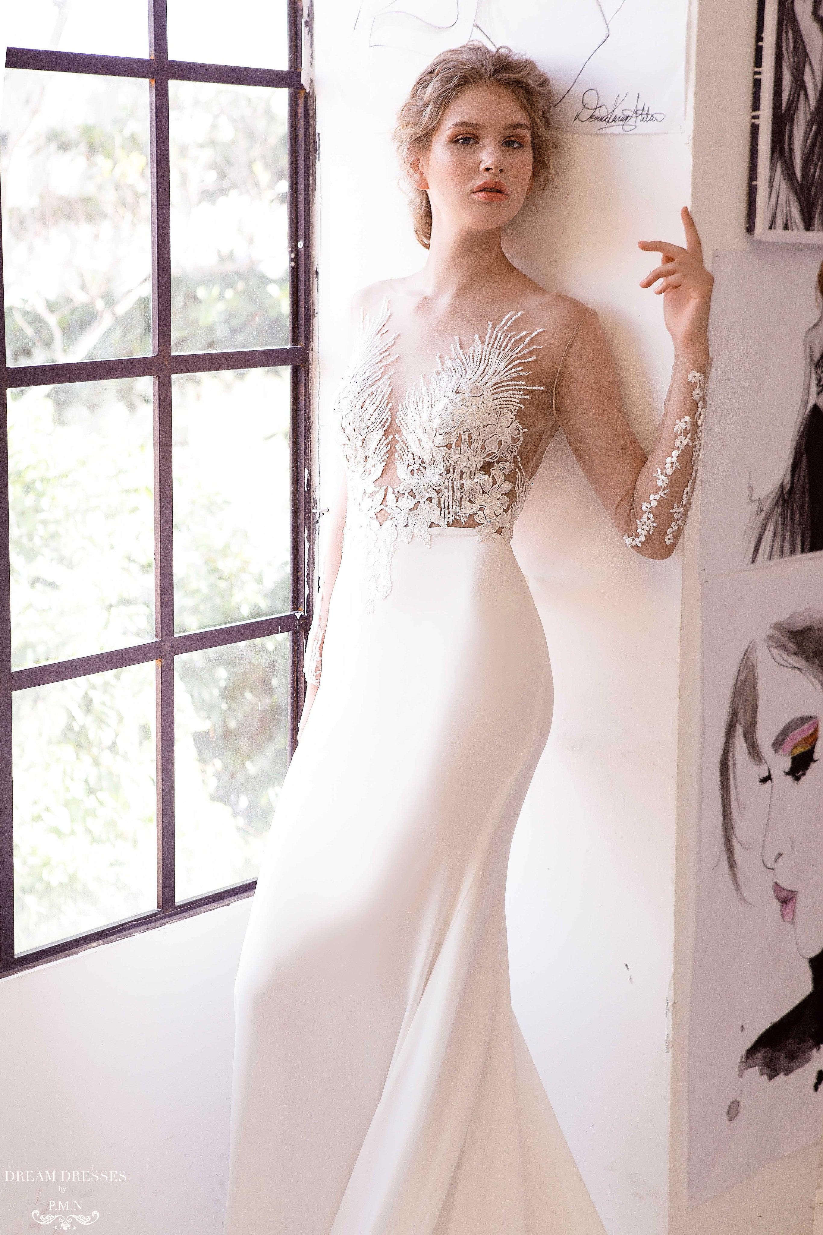 Illusion Long Sleeve Sheath Gown (#Adara)