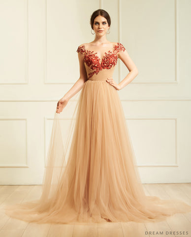 Nude Wedding Gown with Red Lace (#Aida )