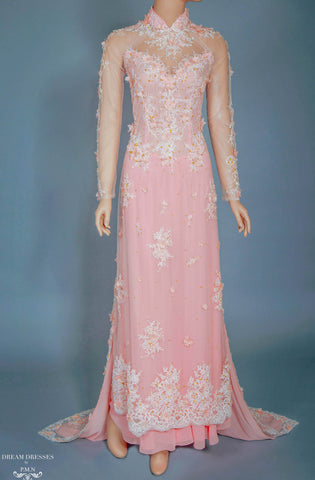 Blush Pink Bridal Ao Dai | Vietnamese Bridal Dress with Embellishment (#ANNIE)