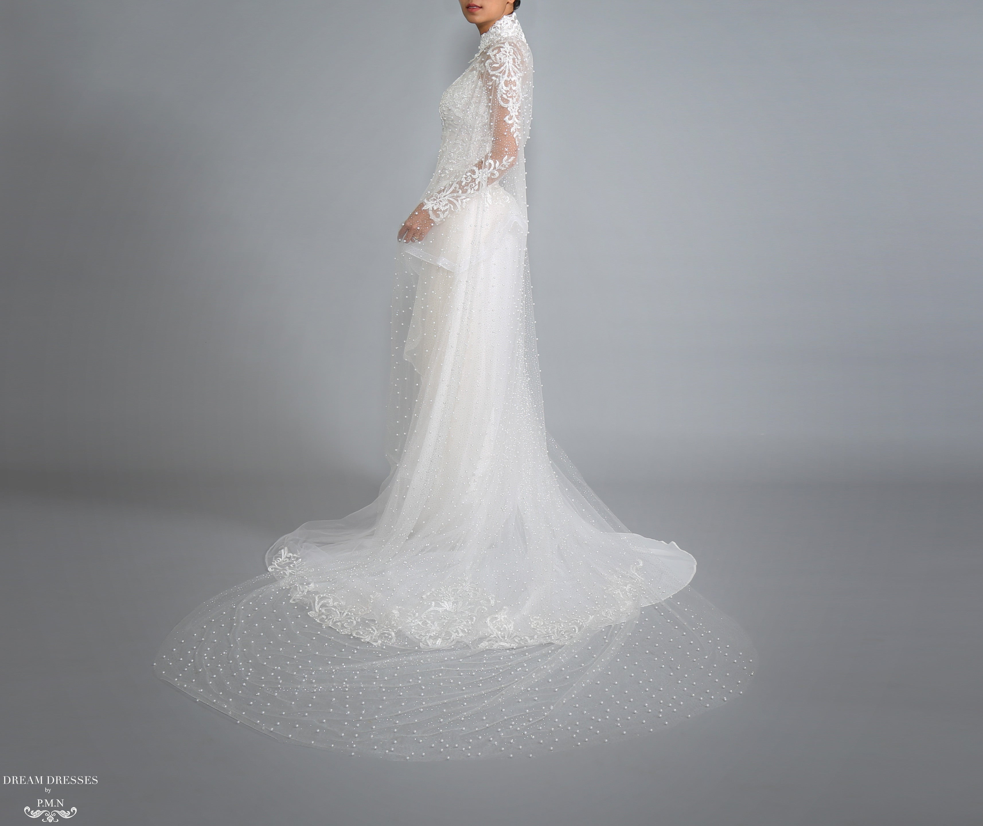 Sparkling Cathedral Pearl Bridal Cape (#Axelle)
