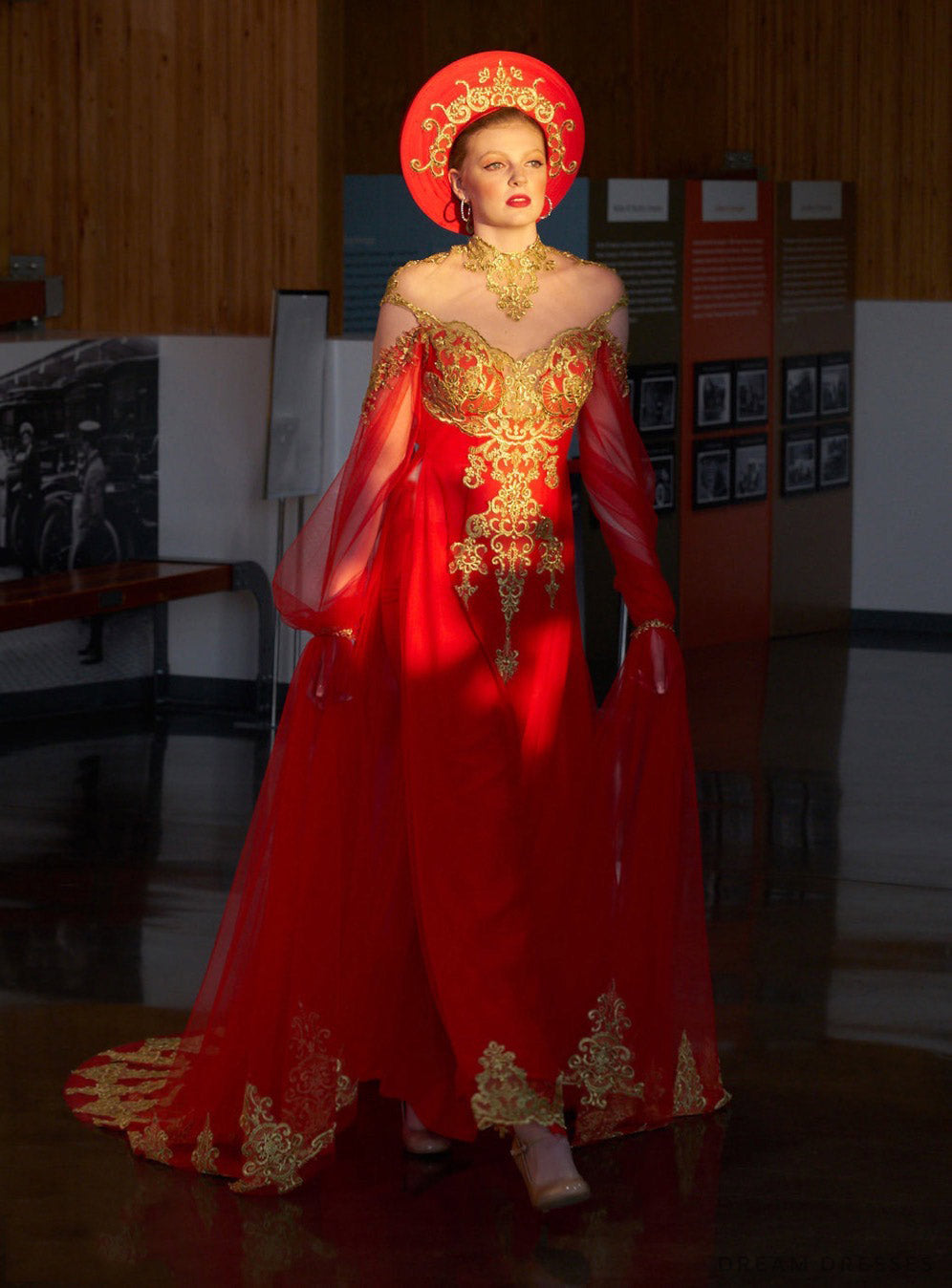 Red Ao Dai Cape | Vietnamese Bridal Cape Sleeves (#ALANA)