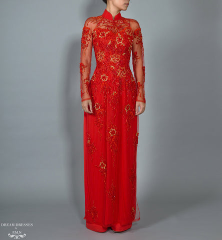 Red Bridal Ao Dai | Vietnamese Lace Bridal Dress (#BRUCIE)