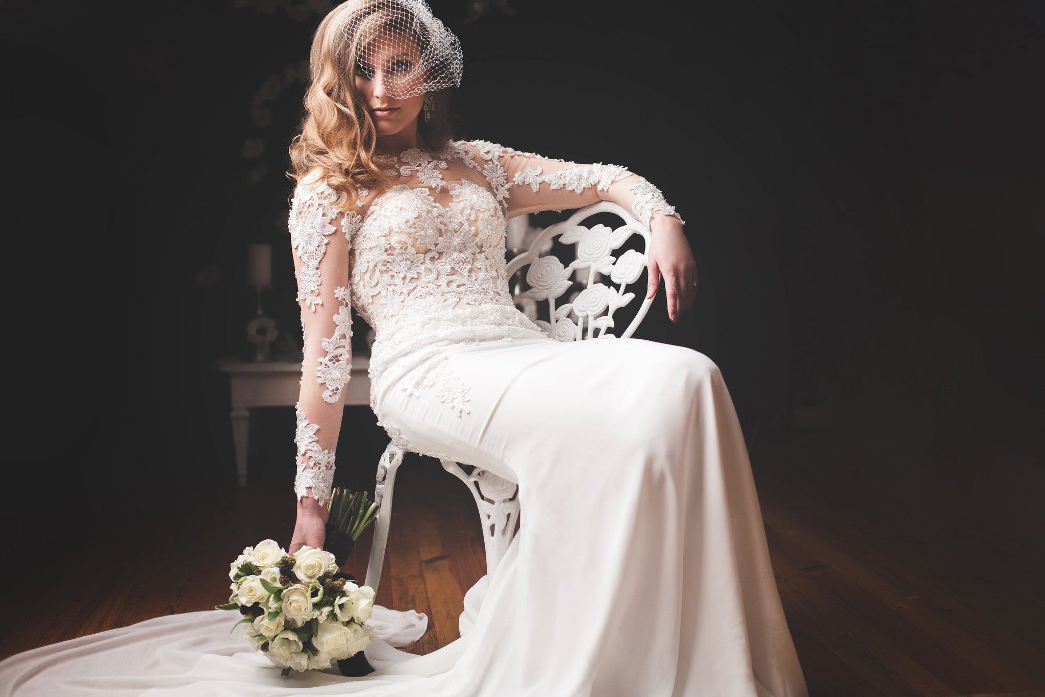 Modern Long Sleeve Wedding Dress With Key Hole Back (#Liz)