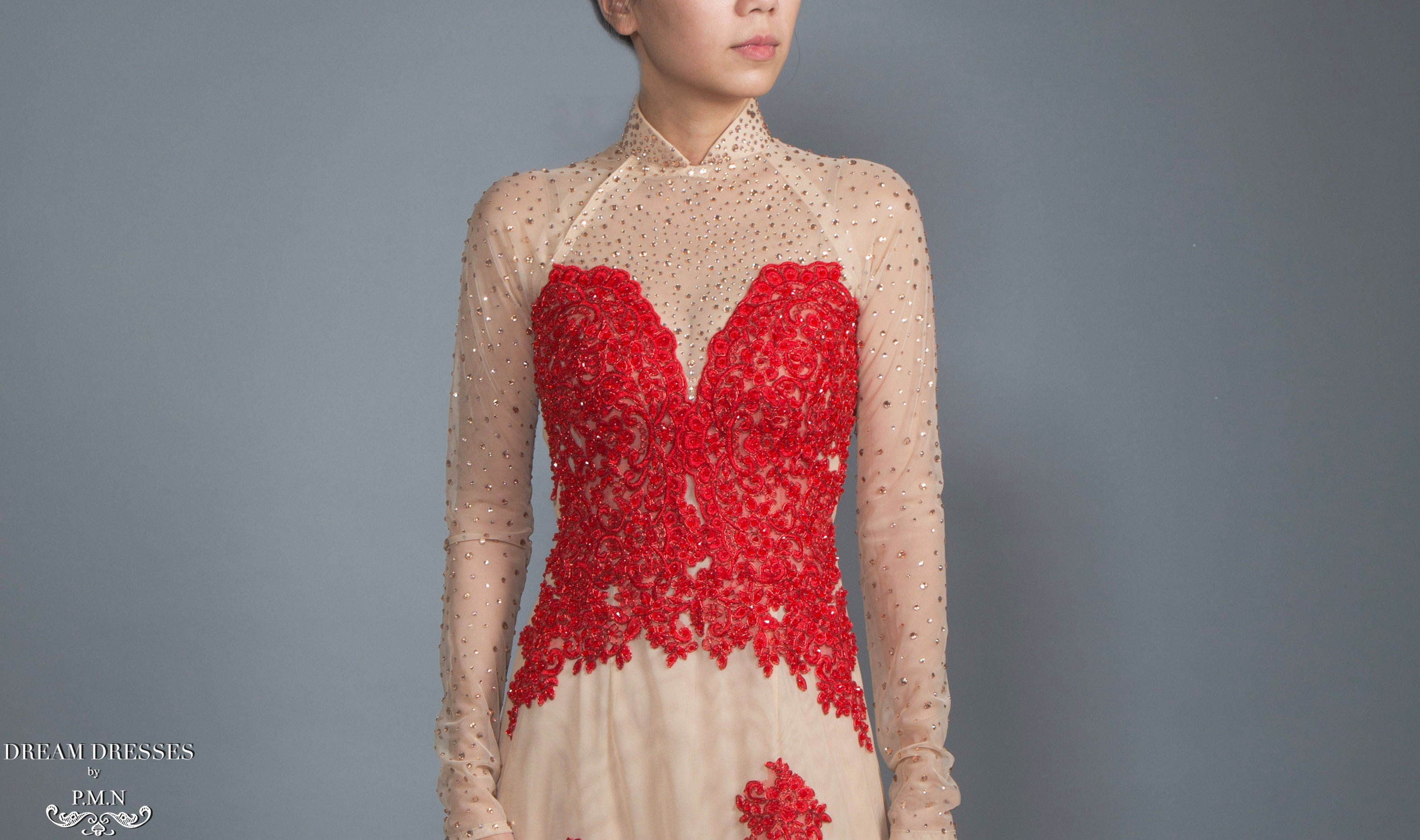 Red and Champagne Ao Dai | Vietnamese Lace Bridal Dress (#CALIANA)