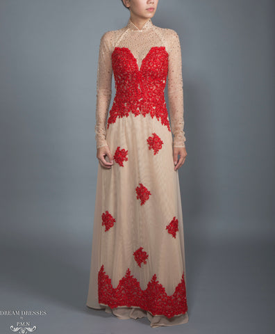 Red and Beige Ao Dai | Vietnamese Lace Bridal Dress (#CALIANA)