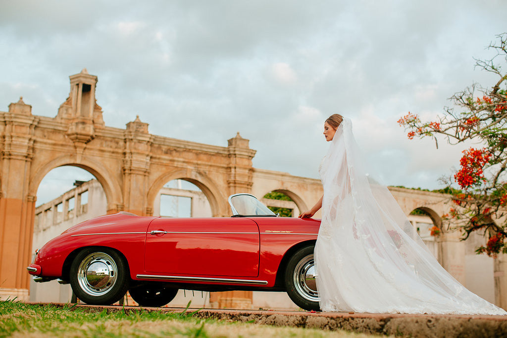One-tier Cathedral Length Veil With Lace Appliqué Edge (#PB100) - Dream Dresses by P.M.N  - 4