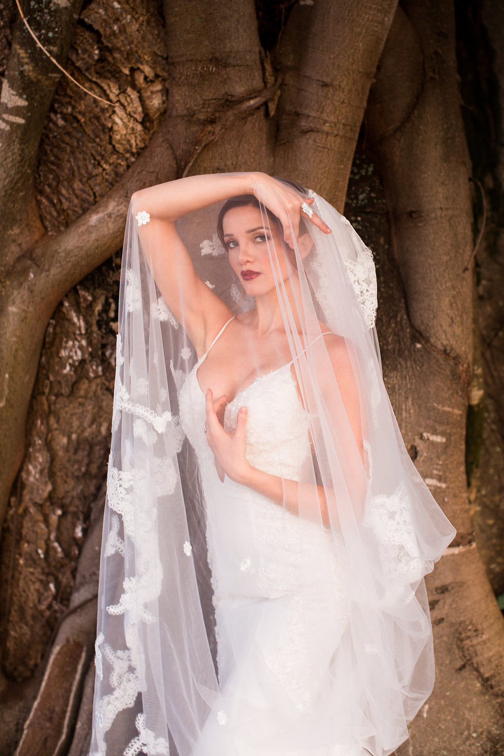 One-tier Cathedral Length Veil With Lace Appliqué Edge (#PB100) - Dream Dresses by P.M.N  - 6
