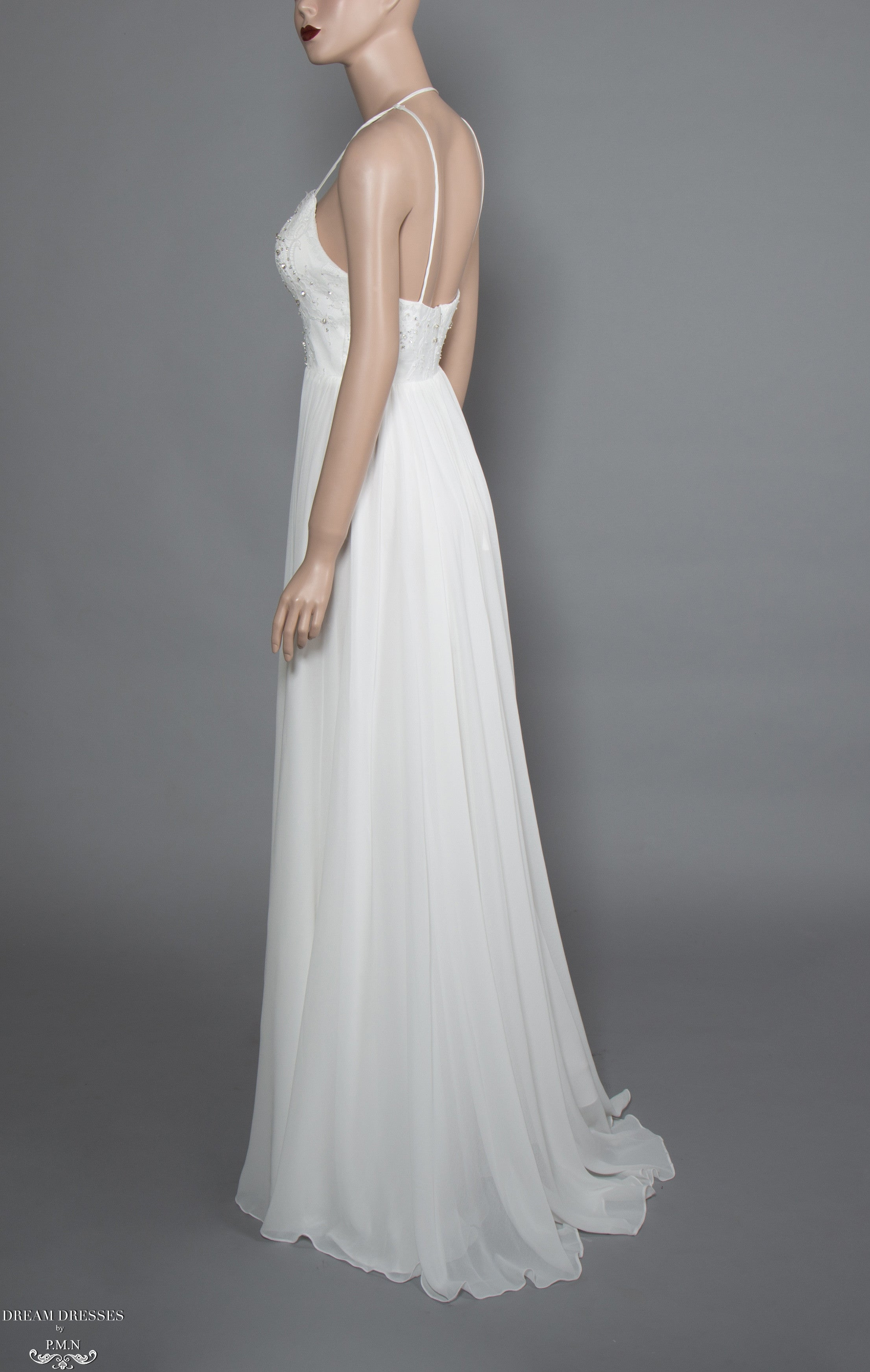 Lace and Chiffon Bohemian Wedding Dress (#Calida)