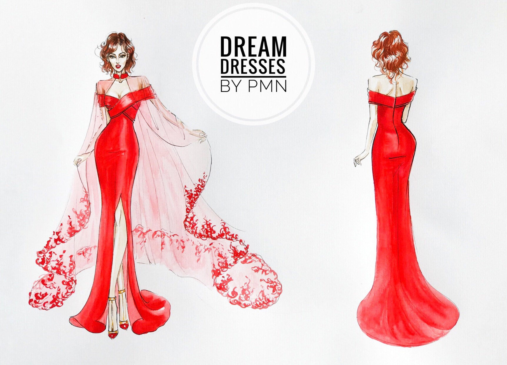 Red Crepe Bridal Gown with Side Slit (#Cathy)