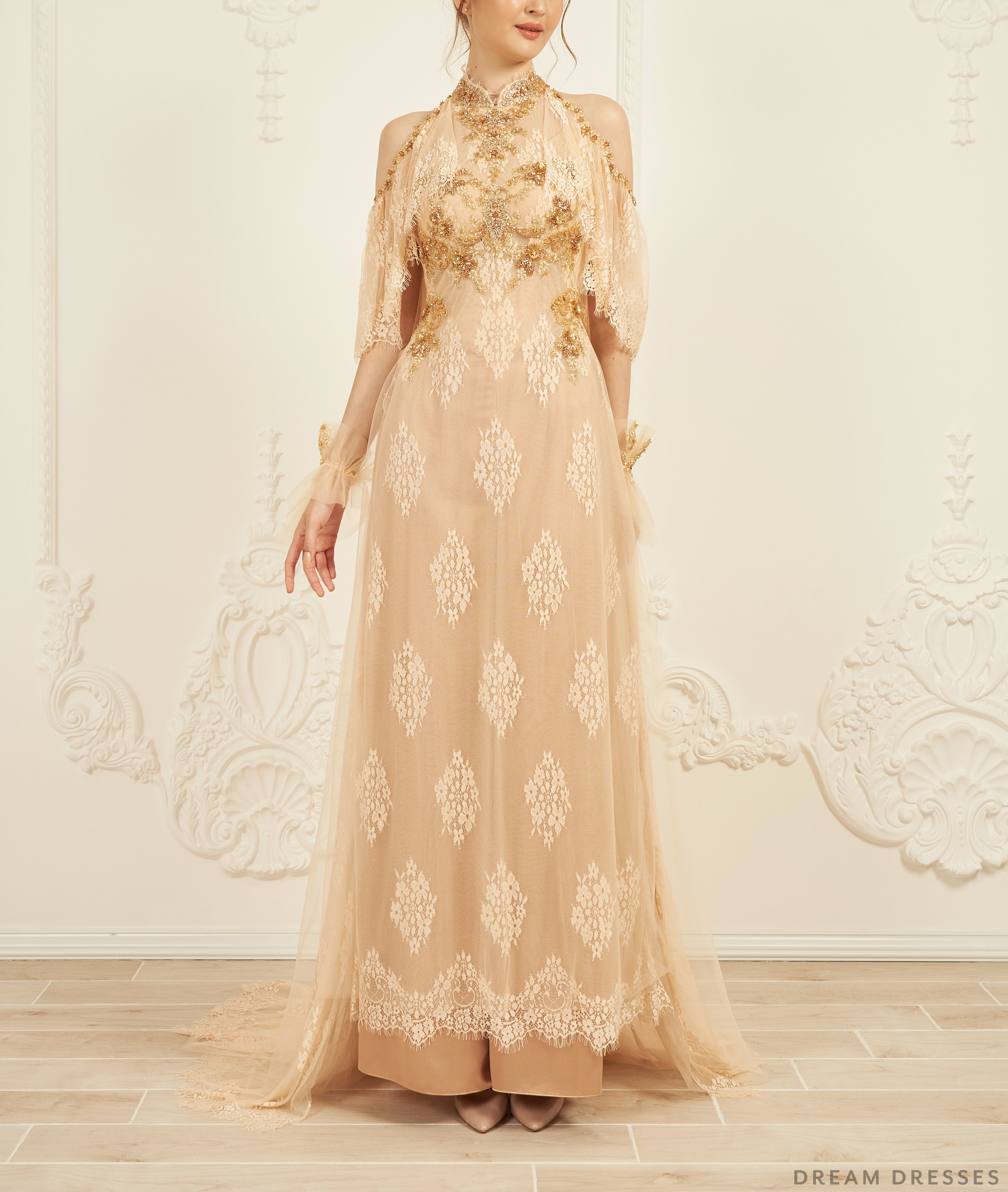 Gold Bridal Ao Dai | Vietnamese Lace Bridal Dress (#CINZIA)