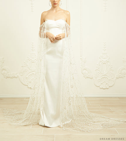 Detachable Bridal Cape Sleeves (#DAVINA)