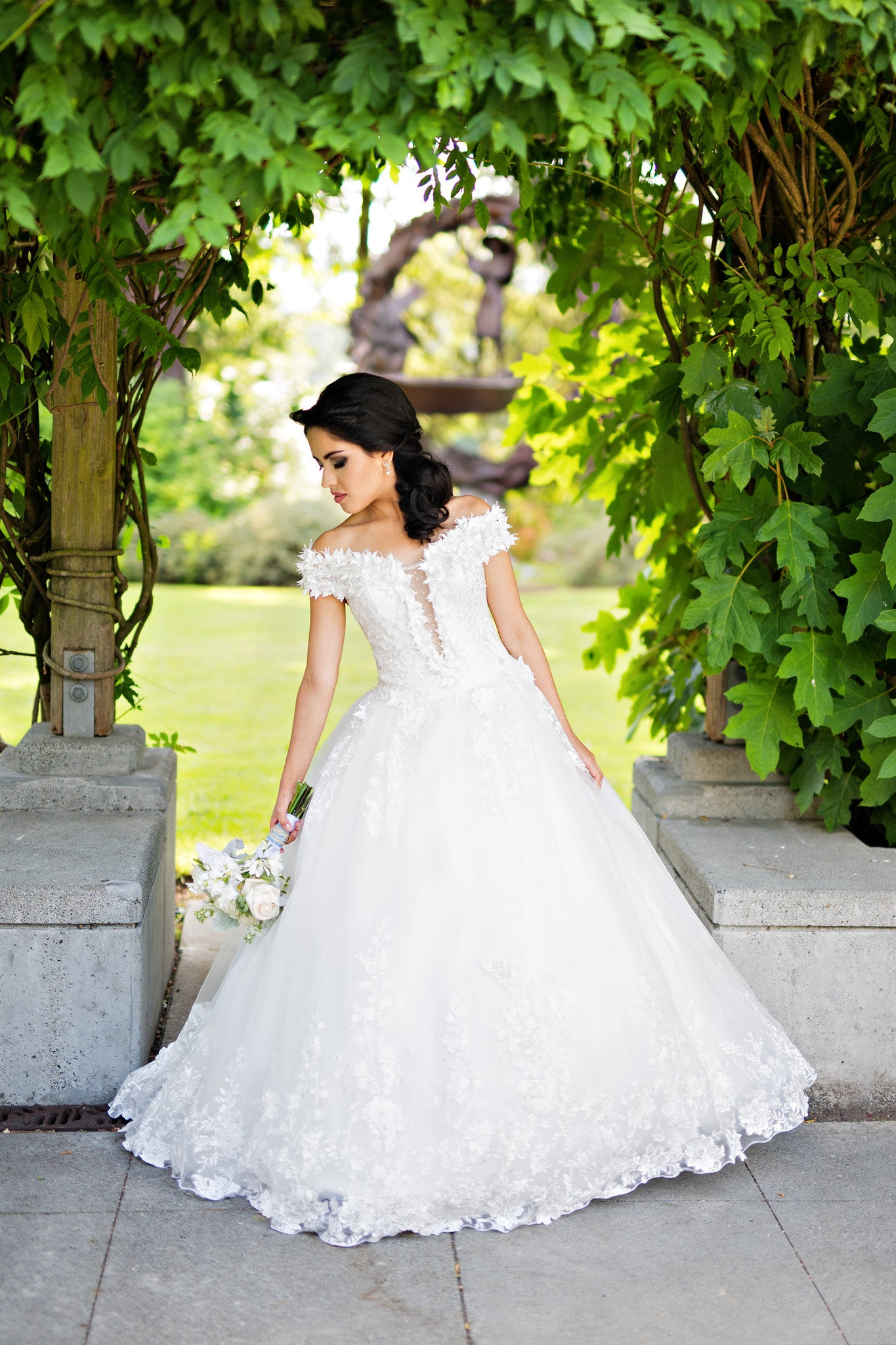 SAMPLE SALE/ Off Shoulder Lace Ball Gown with 3D Flowers (#Alexia) - Dream Dresses by P.M.N  - 1