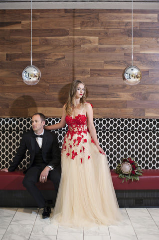 Red And Champagne Tulle Dress (Style #FW16100) - Dream Dresses by P.M.N  - 1