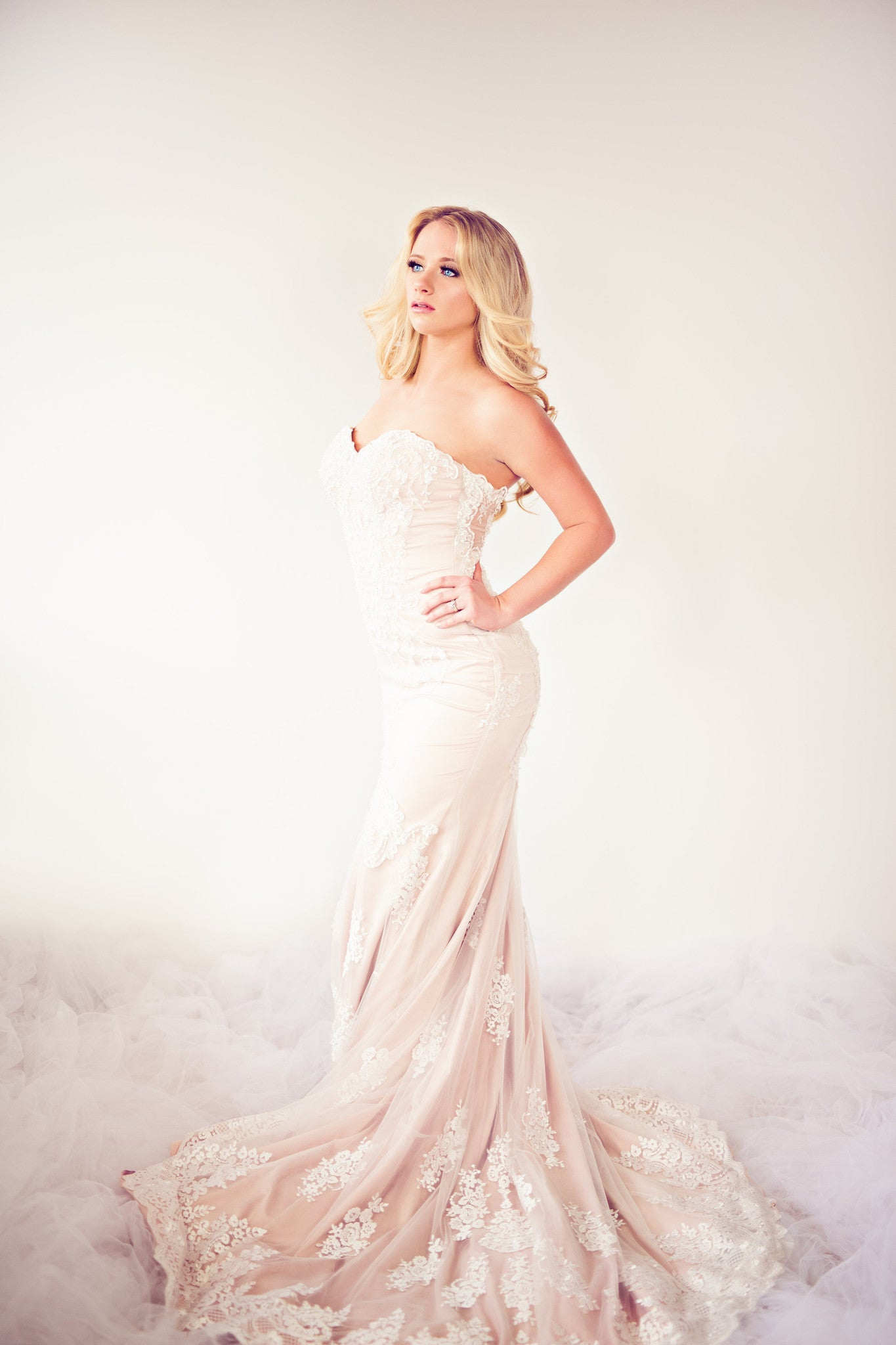 SAMPLE SALE/ Beaded Lace Mermaid Dress With illusion Back (Style # IngaLisa PB109) - Dream Dresses by P.M.N  - 3