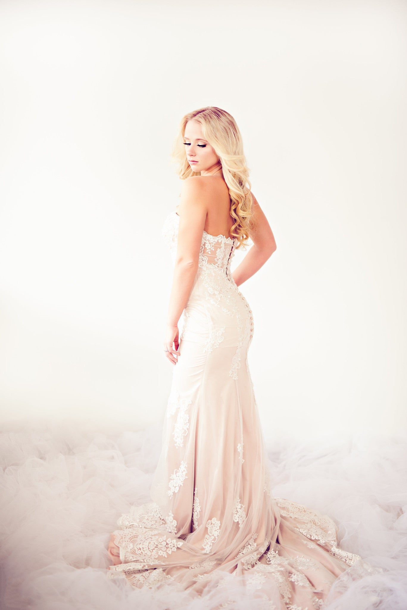 SAMPLE SALE/ Beaded Lace Mermaid Dress With illusion Back (Style # IngaLisa PB109) - Dream Dresses by P.M.N  - 4