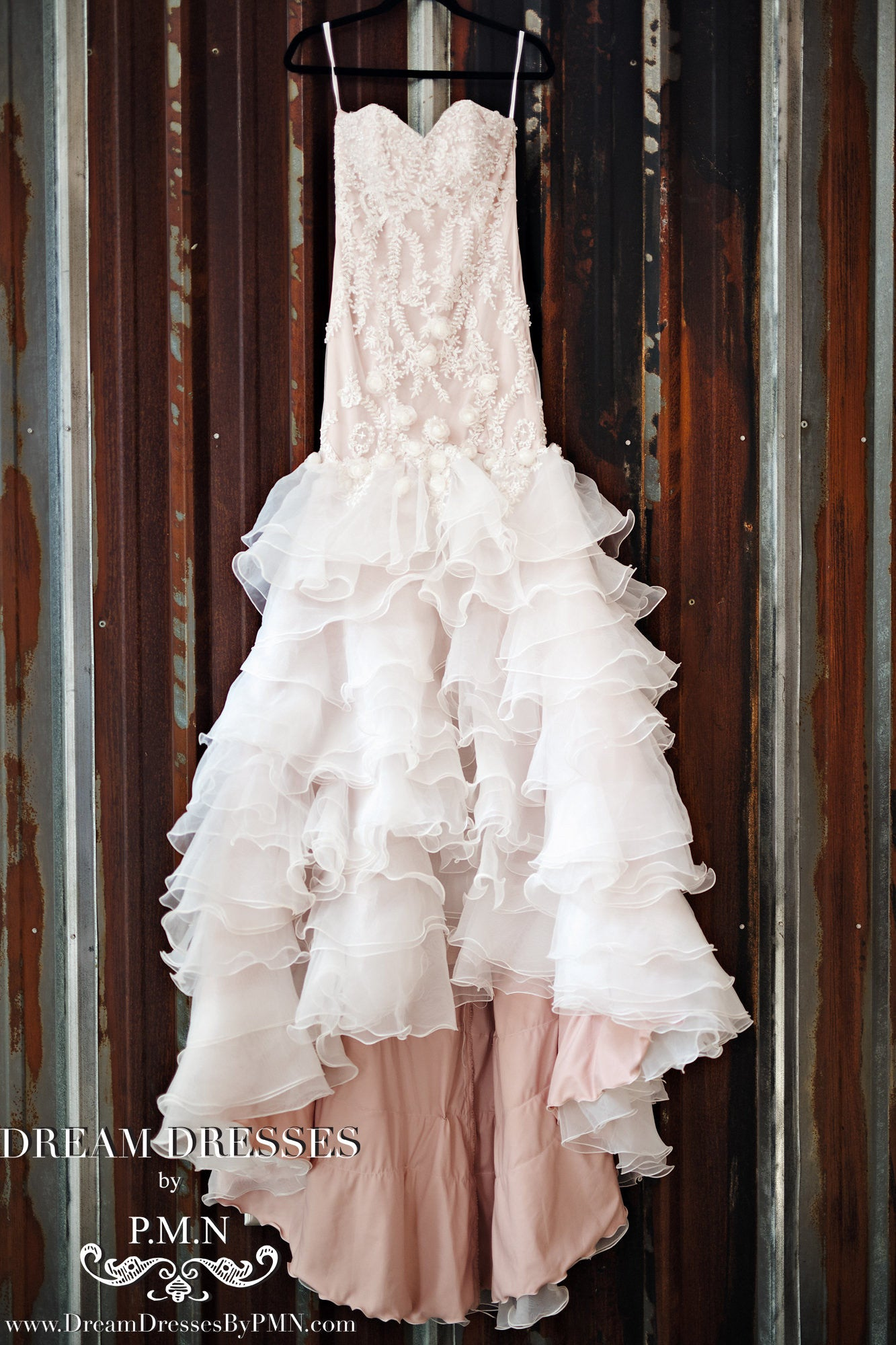 SAMPLE SALE/ Blush Pink Tiered Trumpet Wedding Dress  (#SS16103)