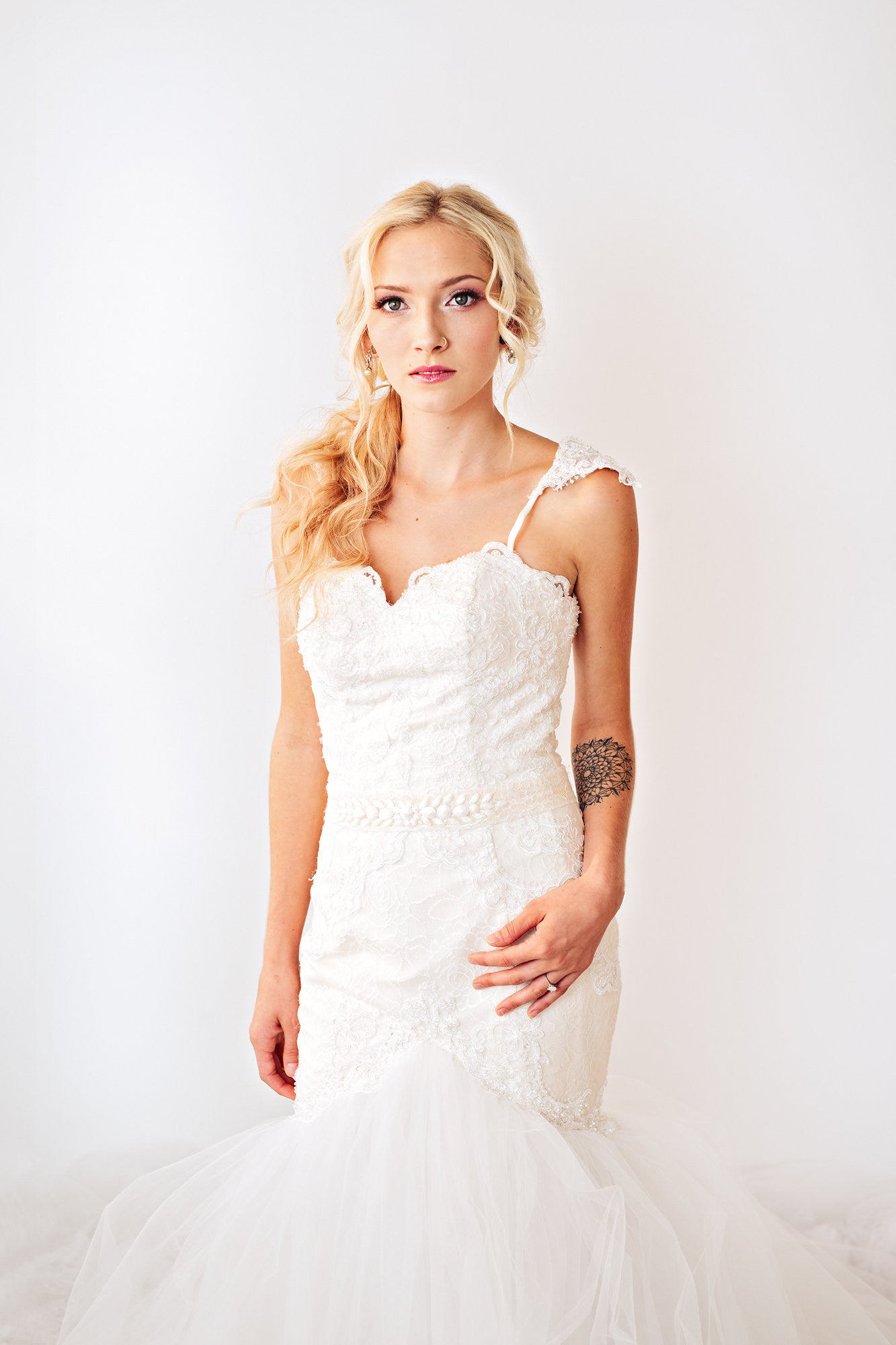 Blush Pink Ivory Lace Trumpet Wedding Gown with Beaded Straps (#PB067) - Dream Dresses by P.M.N  - 5