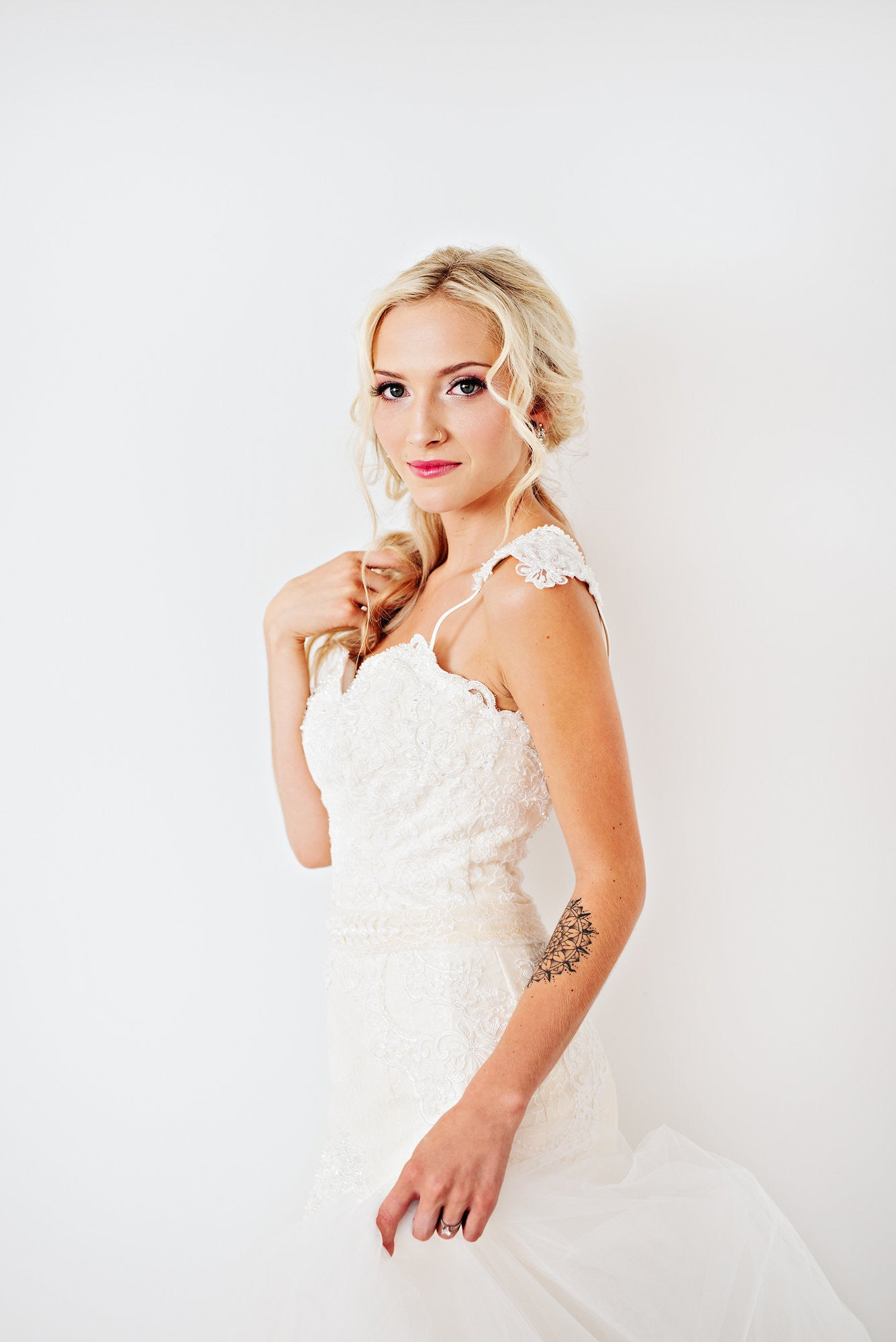 Blush Pink Ivory Lace Trumpet Wedding Gown with Beaded Straps (#PB067) - Dream Dresses by P.M.N  - 10