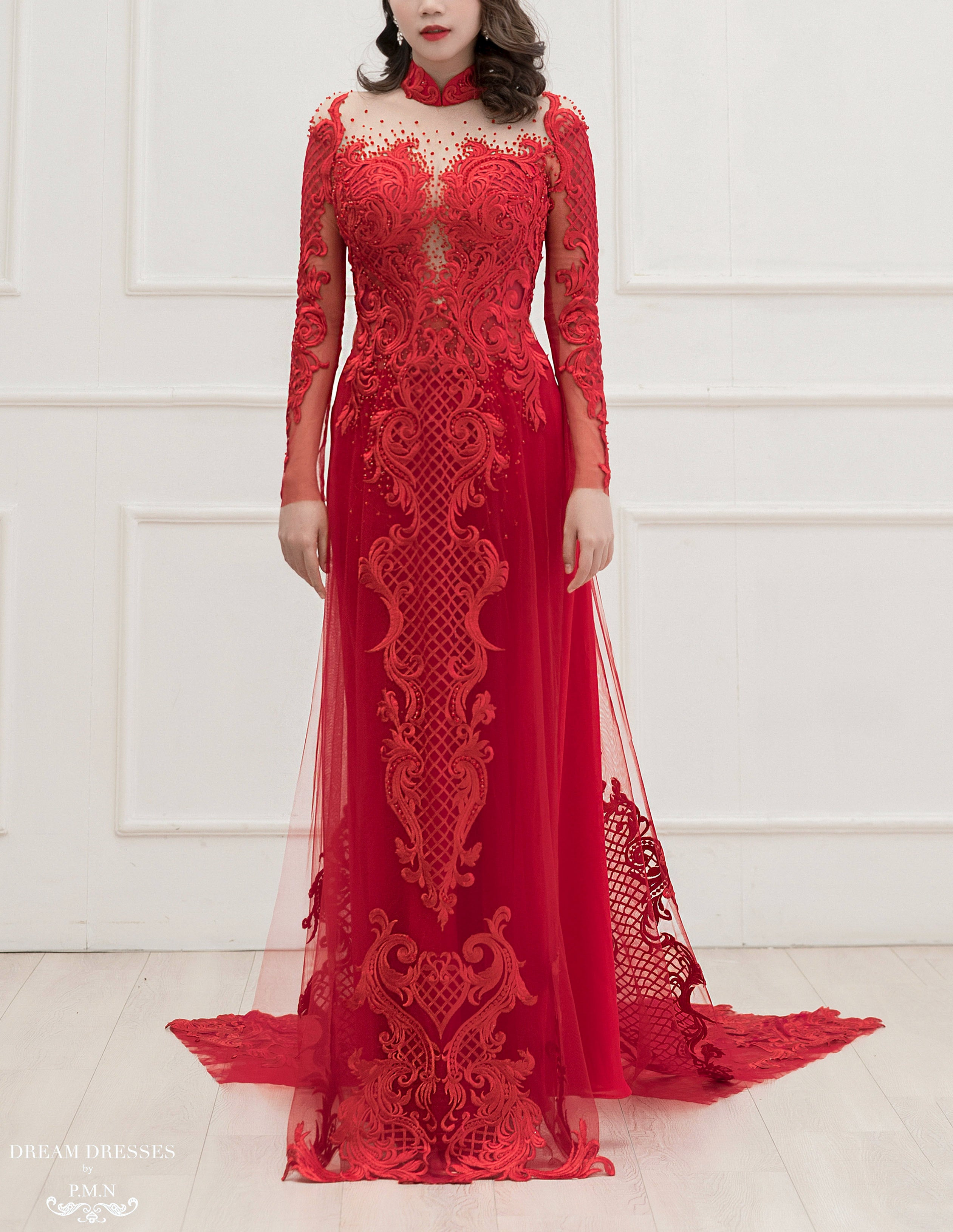 Red Ao Dai | Custom Made Vietnamese Bridal Dress (#TATIA)